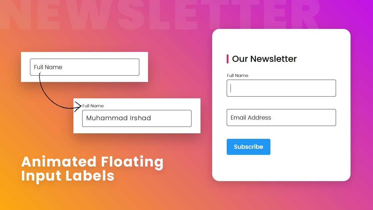 CSS Newsletter with Animated Floating Input Labels