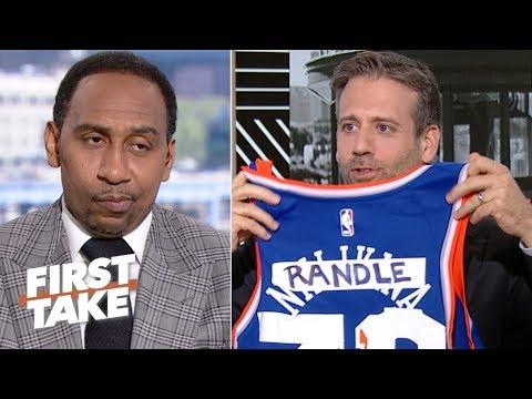 Max Kellerman trolls Stephen A. Smith with a 'custom' Knicks jersey | First Take