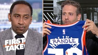 Max Kellerman trolls Stephen A. Smith with a 'custom' Knicks jersey | First Take