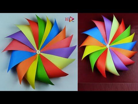 Folded Paper Wreath | Pinwheel Wreath | Sunflower Wreath | Home Decoration Handmade Wreath