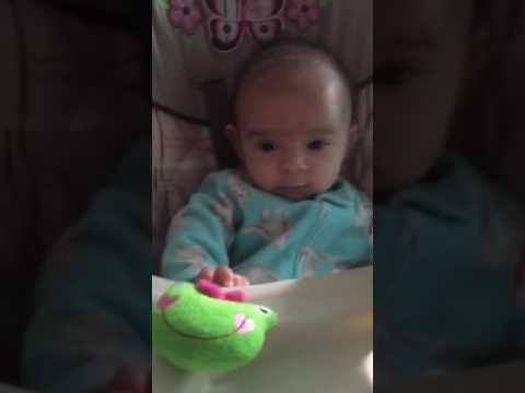 3 months old in highchair