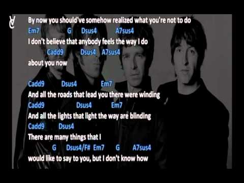 Chords And Lyrics Oasis Wonderwall Youtube