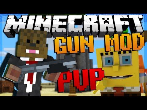 Minecraft SPONGEBOB Gun Mod PVP (Bikini Bottom) Modded Minigame W/ JeromeASF & Friends!
