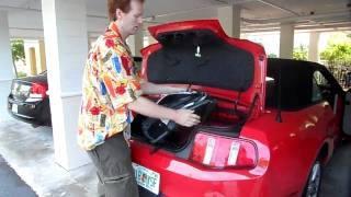 How much fits in the trunk of a Ford Mustang convertible?