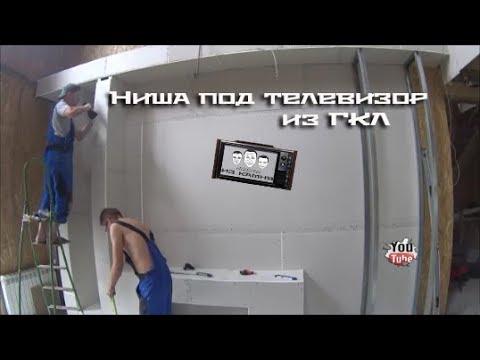 Как сделать нишу для телевизора из гипсокартона