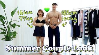 [통통 커플룩] 한국 최초 77kg 💚100kg 여름 커플룩👫🏻#통통코디 #커플룩 #데일리룩