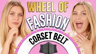 CORSET BELT CHALLENGE?! Wheel of Fashion w/ Caci Twins