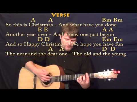 Happy X-Mas (War is Over) Strum Guitar Cover Lesson in A w/ Chords/Lyrics
