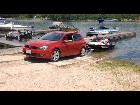 Perfect VW Golf Towing Jetski Out Of Water