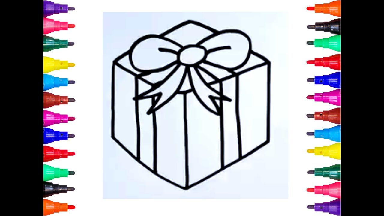 How to Draw Christmas Gift Box for Kids Learn to Draw ...