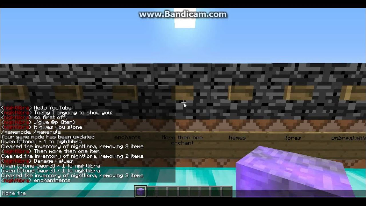 /give command rundown. give Enchanted, Unbreakable, Renammed, and More  items!