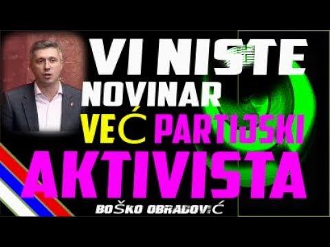 BOŠKO OBRADOVIĆ 'RASTURA' NOVINARA PINKA - Vi niste novinar vec partijski aktivista