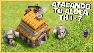 ATACANDO TU ALDEA Th 1 al 7 #56 - CLASH OF CLANS CON ANIKILO - DESAFIOS
