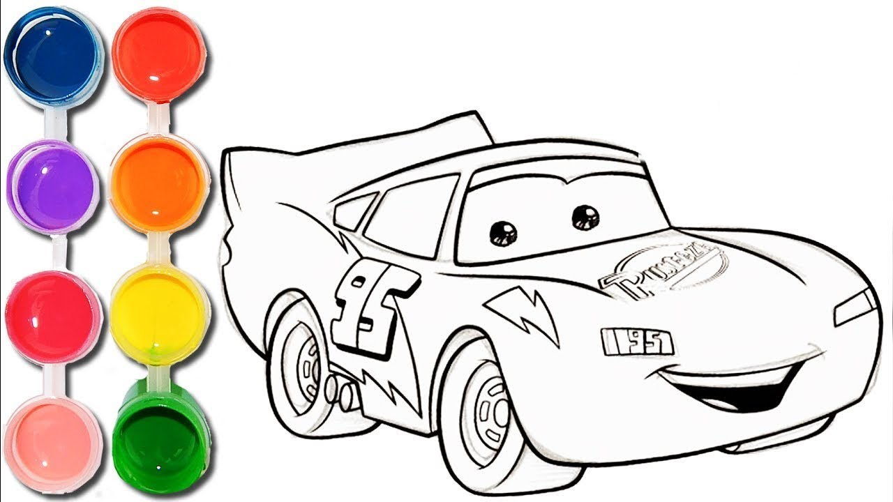 Cómo Dibujar Y Colorear A Rayo De Los Cars 3 Disney: Colorea A Rayo McQueen Juegos Infantiles
