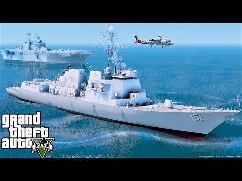 GTA 5 Mod US Navy Arleigh Burke-Class Destroyer Warship USS Nathan James Guided Missile Destroyer