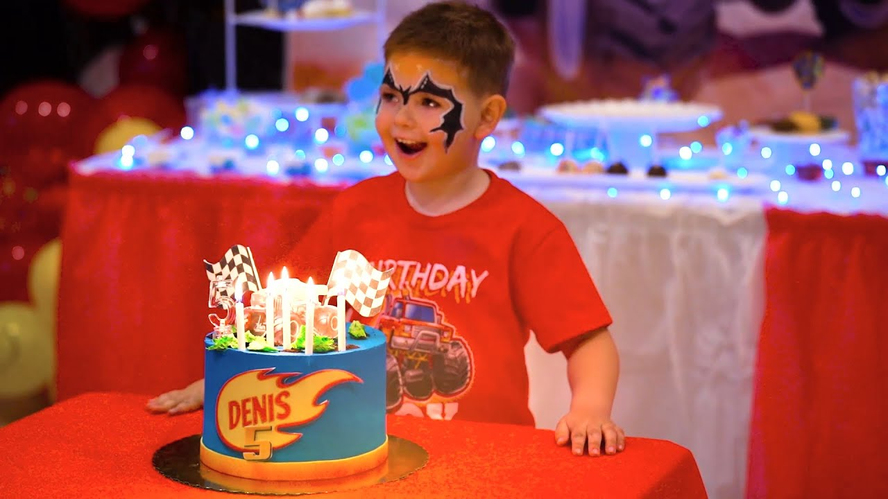 Denis and his Birthday Party 5 years old. Nastya and Denis