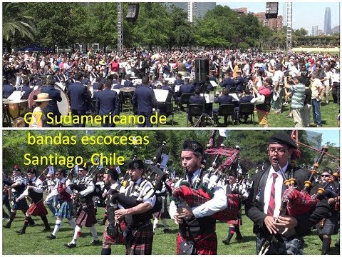 7th South American of Scottish bands parade in Santiago, Chile