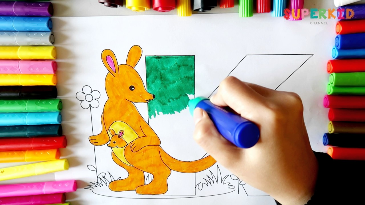 Letter K and Kangaroo Coloring Page - Alphabet Coloring Pages for ...