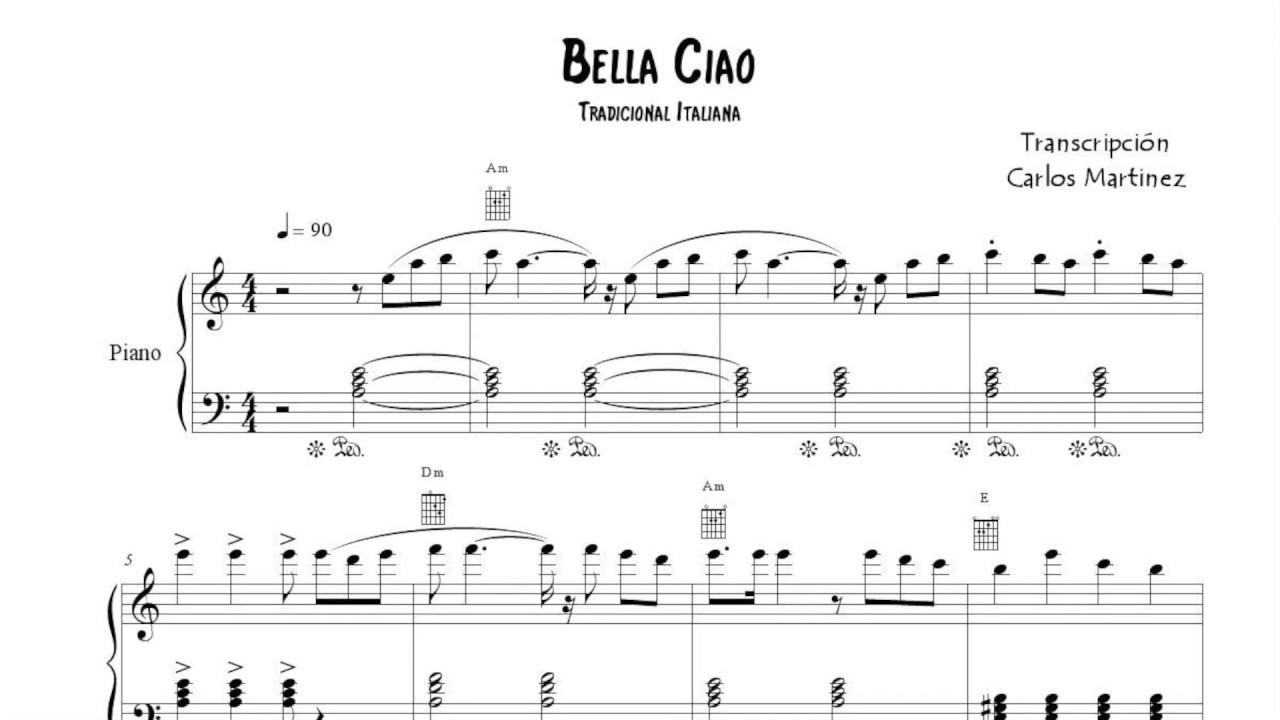 Bella Ciao Partitura Dúo De Voz Con Letra Piano Melodía Acompañamiento Youtube