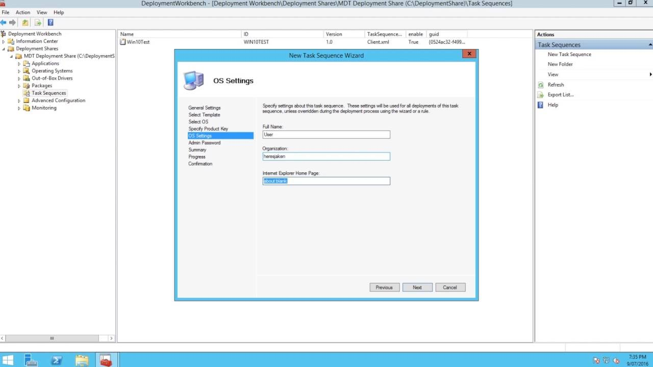 How to make a new task sequence MDT 2013