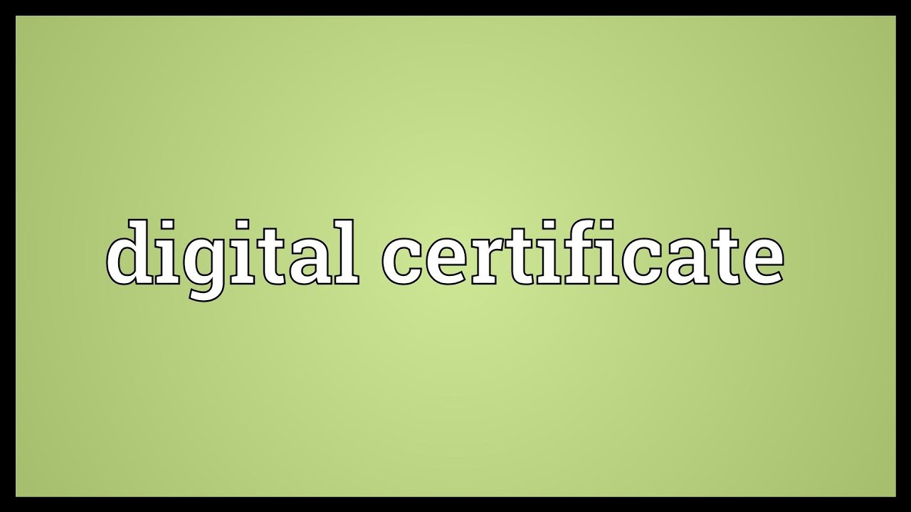 Digital Certificate Meaning Youtube