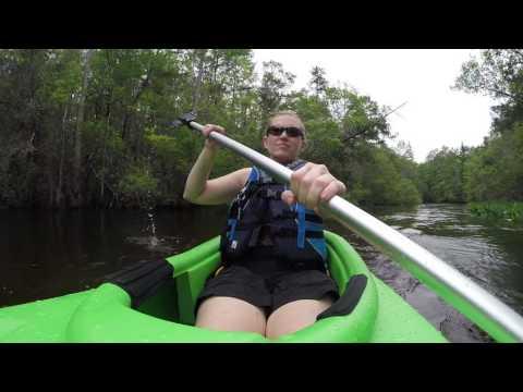Wife kayaking up turkey creek in Niceville Florida