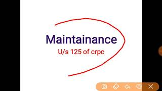 Maintainance under section 125 of crpc | section 126 | section 128 | maintainance to wife