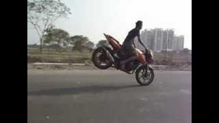 Rolling Stoppie on Pulsar 180