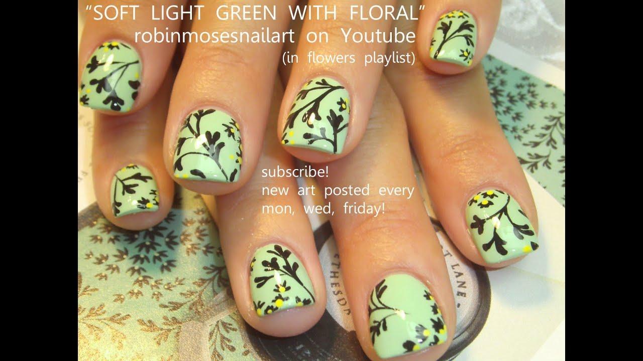 Nail Art Tutorial | DIY Easy Short Nails for Beginners | Mint Flower ...