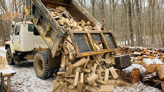 "Receiving a shipment of bone dry processed 16"" sassafras firewood"