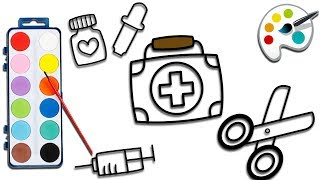 Colouring Doctor Set   How to Draw Kit First Aid   Coloring Book for Kids
