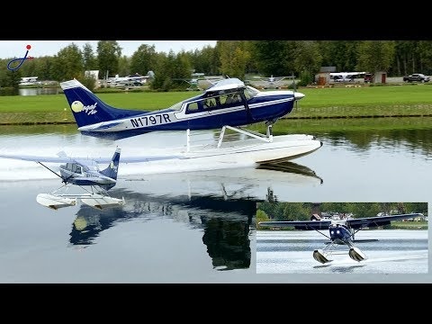 Regal Air Cessna 206 float takes off from Lake hood [4K]