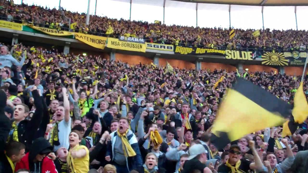 Pokalfinale 2012: Torjubel der BVB Fans zum 2:1