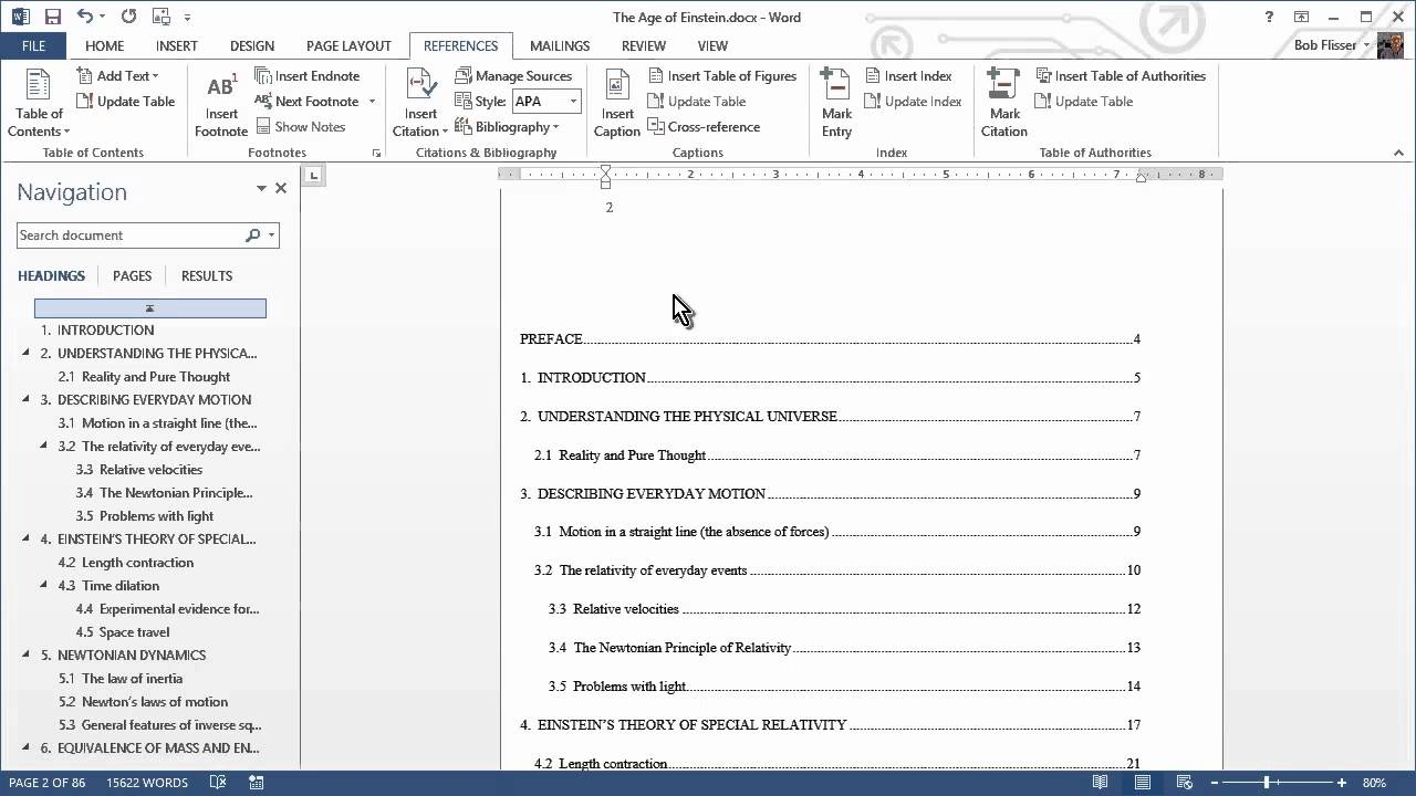 How do i insert a table of contents in microsoft word 2020