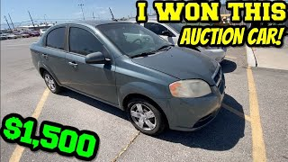 I WON A 2010 CHEVY AVEO AT THE AUCTION!