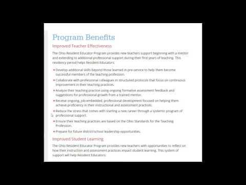 Ohio Resident Educator Program Benefits