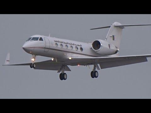[FullHD] Algerian Government Gulfstream 4 landing & takeoff at Geneva/GVA/LSGG