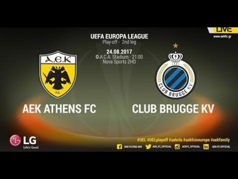 AEK Athens F.C. vs Club Brugge 3-0 Europa League Play Offs FULL MATCH 2st Leg (24-8-2017)