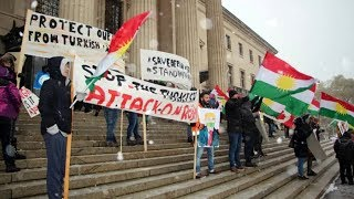 Kurdish Canadians protest against Turkish military attacks in Syria