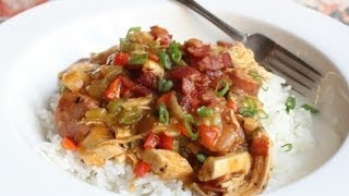 Cajun Chicken Ragu - Spicy Chicken and Sausage Stew over Rice - Mardi Gras Special