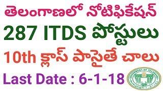 Telangana 287 ITDS Posts Recruitment Notification 2017 | Telangana Government Jobs