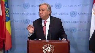 António Guterres (UN Secretary-General) on D.P.R.Korea, Myanmar, Climate Change - Media Stakeout thumbnail
