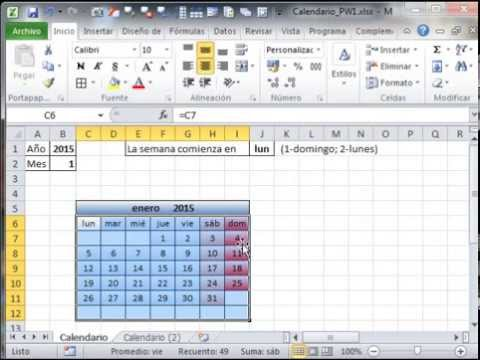 Como hacer un Calendario en Excel - YouTube