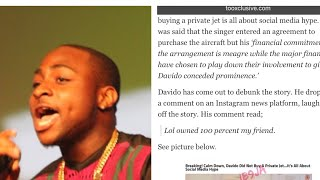 Davido responds to rumors of lying over buying a private jet.