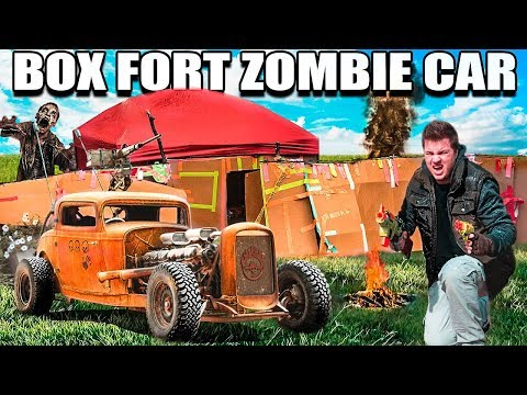 BOX FORT ZOMBIE CAR SURVIVAL CHALLENGE!!   The Walking Dead Box Fort!