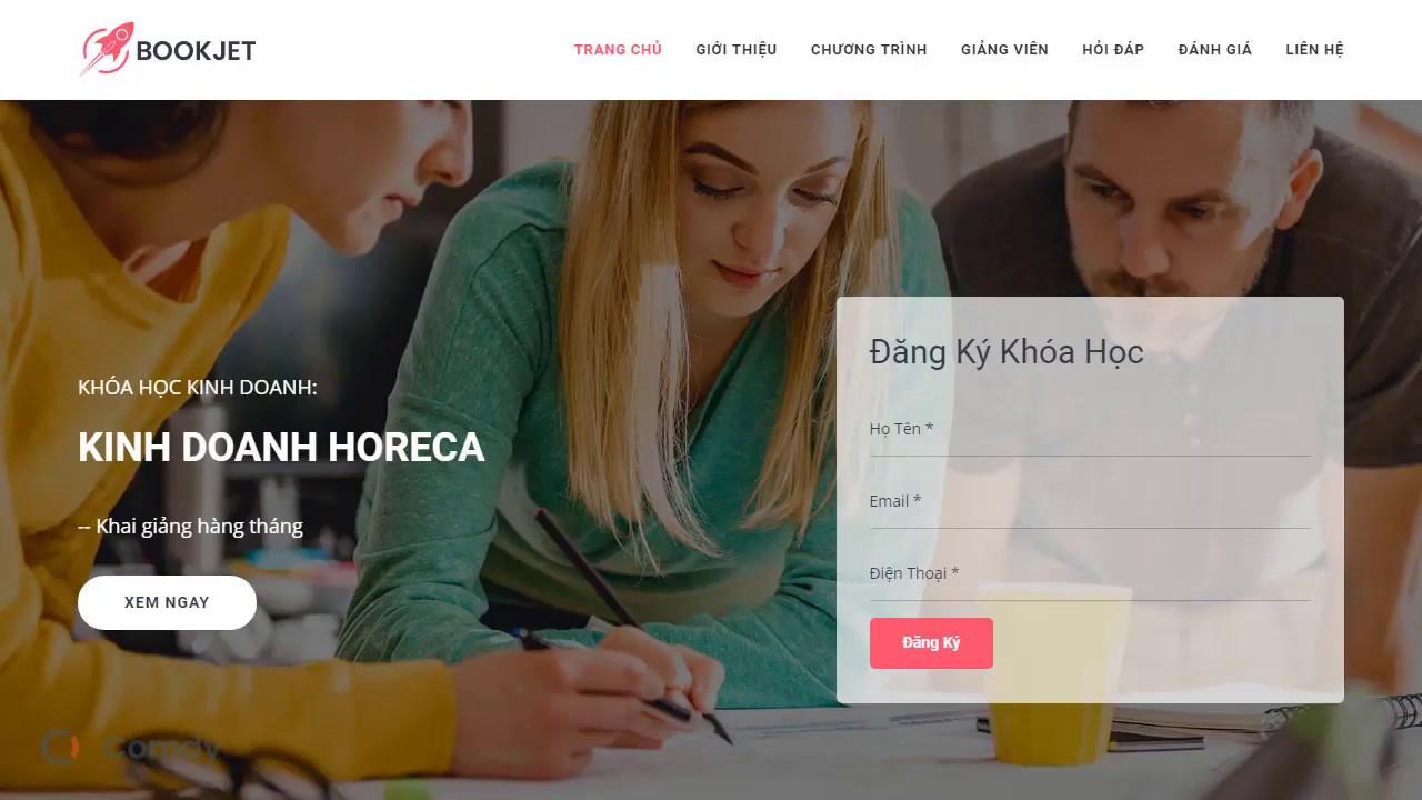 Landing page khóa học kinh doanh HORECA