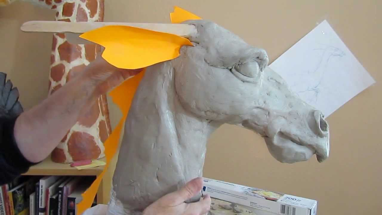 Paper mache dragon 2 clay head form youtube for How to make a sculpture out of paper mache