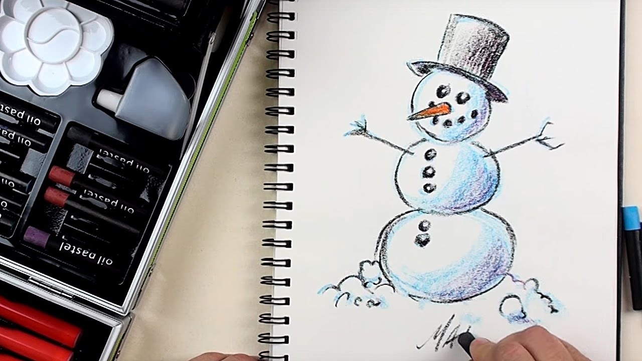 How to Draw Emoji Snowman Step by Step for Beginners with Kiddy Color 133  Piece Art Kit | BP