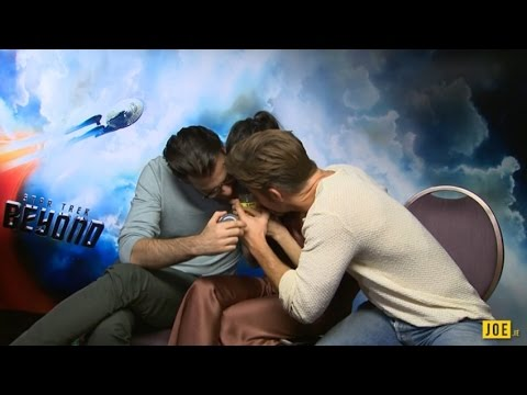Chris Pine, Zachary Quinto & Sofia Boutella tickle each other & smell a mystery Irish jar