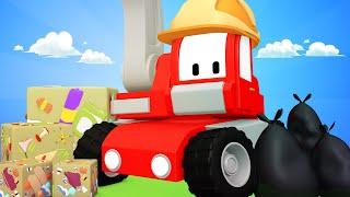 Tiny Trucks - Garbage recycling - Kids Animation with Street Vehicles Bulldozer, Excavator & Crane